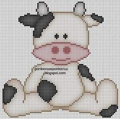 Cross Stitch Cow, Cross Stitch For Kids, Cross Stitch Animals, Cross Stitch Charts, Cross Stitch Designs, Cross Stitch Patterns, Crochet Cow, Crochet Patterns Amigurumi, Plastic Canvas Crafts