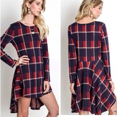 Plaid Print A-Line Dress Dress features plaid print with A- line fit and flounce back. Material is 65% cotton and 35% polyester.  Length of front is 33 inches, length of back is 36 inches.  Small fits 4-6, medium 8-10, large 12-14. Dresses