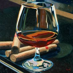 Cigars and Brandy Painting  - Cigars and Brandy Fine Art Print......wish I had a print of this!