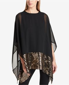 Dkny Sequined Sheer Trapeze Poncho In Black Pink Fashion, Hijab Fashion, Fashion Dresses, Vetement Fashion, Scarf Top, Dress Sewing Patterns, Pakistani Dresses, Couture Collection, Blouse Designs