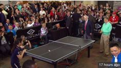 2016 Bill and Cheryl with Warren Buffett and Bill Gates at ping pong match at Borsheim's in Omaha, Nebraska.