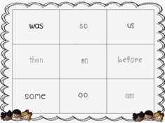 Sight word game RF1.3g Recognize and read grade-appropriate irregularly spelled words.