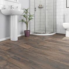Dark wood floors bathroom grout Ideas for 2019 Vinyl Flooring Bathroom, Wood Floor Bathroom, Bathroom Vinyl, Kitchen Vinyl, Vinyl Plank Flooring, Master Bathroom, Master Baths, Boho Bathroom, Downstairs Bathroom