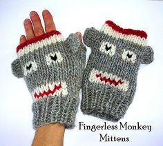 Ravelry: Fingerless Monkey Mittens ~ 4 Sizes pattern by Genevieve Monks Keller $4.50