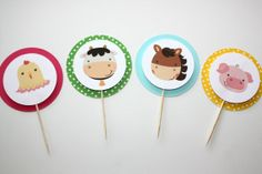 Farm Animal Cupcake Toppers green yellow blue by ElleJayPartyDecor, $8.00