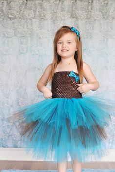 Newborn - Size 9 Brown and Turquoise Layered Tutu Dress