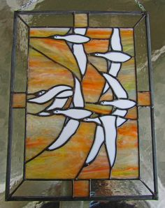 Flying Geese Stained Glass Panel  ~ Tiffany Stained Glass ~ Home Decor