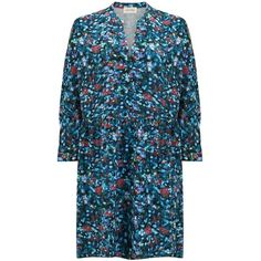 American Vintage Ypodole Floral Dress - Multicolour Art ($145) ❤ liked on Polyvore featuring dresses, multicolour art, long sleeve floral dress, floral dresses, mid length dresses, long sleeve fitted dress and pleated dress