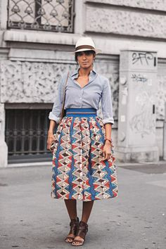Awesome 43 Dreamy Summer Street Style Ideas With Tribal Dress That You Need To Try Tribal Print Skirt, Tribal Dress, Funky Dresses, Skirts For Sale, Street Style Summer, Girl With Hat, Work Fashion, Printed Skirts, African Fashion