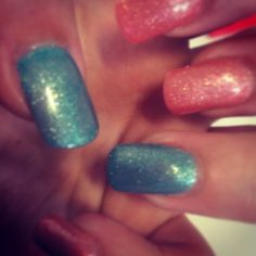 Acrylic nails Sparkly peach and green  Asu perfect match mermaid collection
