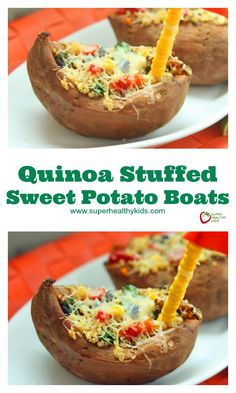 Quinoa Stuffed Sweet Potato Boats - When you want to boost the protein on a meal that's already super healthy, add quinoa! http://www.superhealthykids.com/quinoa-stuffed-sweet-potato-boats/