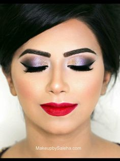 Purple gold black shadow with red lip