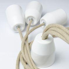 Handmade Lamp N°301, linen Textile Cables, Porcelain Ceiling Pendant