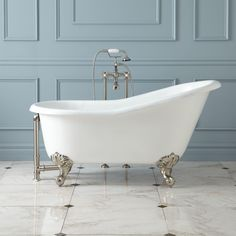 """57"""" Erica Cast Iron Clawfoot Tub - Polished Brass Imperial Feet with Rolled Rim & No Holes"""