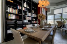 That dining area is on point just cause of the book shelf Toronto Photos, Lofts, Dining Area, Bookshelves, Conference Room, Condo, Shelf, Table, House