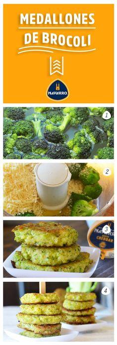 Y para acompañar platillos con verduras: Medallones de brócoli. 1-Hierve dos tazas de brócoli. 2-Licúa: el brócoli, dos huevos grandes, media taza de pan molido y media taza de Queso Cheddar NAVARRO. 3- Usando una cuchara forma bolitas con la mezcla y fríe, aplastándolas con la espátula. 4. Una vez lista sírvelas calientes. Baby Food Recipes, Mexican Food Recipes, Vegetarian Recipes, Cooking Recipes, Healthy Recipes, Healthy Cooking, Healthy Snacks, Healthy Eating, Comida Diy