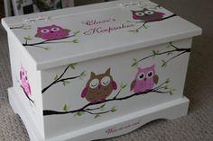 Pecho del recuerdo caja - caja de la memoria de bebé personalizada - buhos rosa
