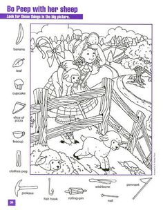 Bo Peep With Her Sheep Hidden pictures coloring page Hidden Picture Games, Hidden Picture Puzzles, Learning Tools, Kids Learning, Hidden Pictures Printables, Hidden Images, Little Bo Peep, Hidden Objects, Clothes Pegs