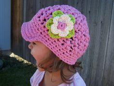 Spring/Summer Crochet Newsboy Hat for little girls.
