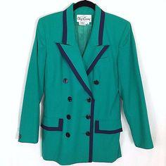 Oleg Cassini Blazer Jacket Size 8 Green Navy Trim Double Breasted Lined  #OlegCassini #Blazer #Career