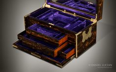 Antique Coromandel Jewellery Box with Concealed Drawers, by William Leuchars - DanielLucian.com
