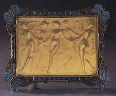 René Lalique. 1901-02 'Dancing Nymphs' Brooch in a frame of butter-flies.  Gold/ enamel/ sapphires/ horn