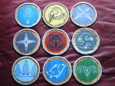Hey, I found this really awesome Etsy listing at http://www.etsy.com/listing/162192934/skyrim-guard-shield-coasters-full-set
