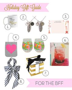 Every girl knows that one of the most important (if not the most important ) holiday purchases is for the BFF (aka sister from another miste. Holiday Gift Guide, Holiday Gifts, Little Gifts, Bff, Place Cards, Place Card Holders, Xmas Presents, Tiny Gifts, Favors