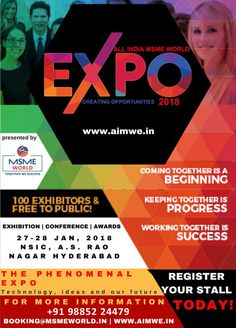 MSME WORLD EXPO 2018 For Booking Stalls Just Call Us Hurry GS MURTHY Advisor