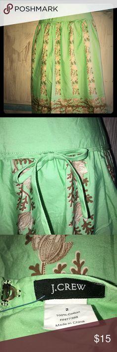 J Crew skirt⚡️⚡️sale⚡️⚡️ Gorgeous J Crew skirt! Green with brown accents J. Crew Skirts Midi