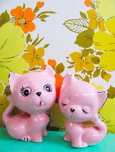 Vintage pink porcelain curious kitties