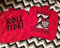 Pied de poule e Roll Tide monogramma Pot titolari