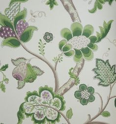 Roslyn Wallpaper A jacobean tree of life design wallpaper in green and purple on a cream background