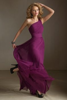 2013 Bridesmaid Dresses A Line One Shoulder Floor Length With Ruffle AUD 123.31 EPPJH5Y97Y - ElleProm.com