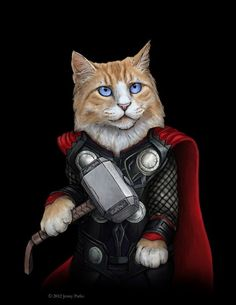 Jenny Parks Avengers As Cats | The Mary Sue (difficult to pick a favourite but I think Thor)