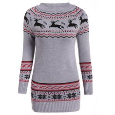 Christmas Reindeer Pattern Tunic Raglan Sleeve Sweater (29 AUD) ❤ liked on Polyvore featuring tops, sweaters, print top, print sweater, christmas tops, christmas sweaters and raglan top