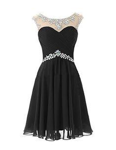 Elley Women's Rhinestones Neckline Straps Open Back Short Chiffon Cocktail Prom Homecoming Dress for Teens Black US6 Elley http://www.amazon.com/dp/B018R15L02/ref=cm_sw_r_pi_dp_W4iHwb0FR7J50