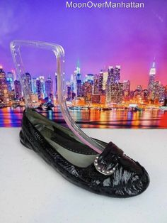 Womens shoes KENNETH COLE REACTION Mocc Softly blk patent leather Flats sz 8.5 M #KennethColeReaction #BalletFlats
