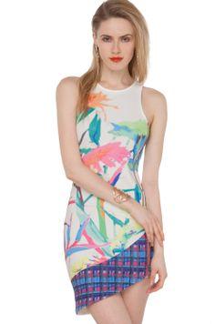Sublimation Print Side Zip Dress in Multi