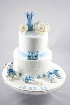 Prince baby shower cake Torta Baby Shower, Baby Shower Cakes For Boys, Baby Boy Cakes, Beautiful Cakes, Amazing Cakes, Fondant Cakes, Cupcake Cakes, Baby Christening Cakes, Bolo Fack