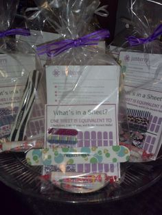 Gift bags: Wilton set of 8 gift bag kits. I included a print out of the application instructions, what's in a sheet, a set of 5 samples, smarties and an emery board. https://www.facebook.com/helenbjammin