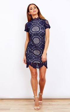 82cdb73824b Lilah Lace High Neck Short Sleeves Mini Dress Navy By Girl In Mind
