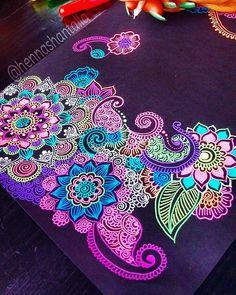 "935 Likes, 20 Comments - Henna - Art by Shantall Alam  (@artbyshantall) on Instagram: ""Good night! Materials ✳Black Paper -> Derwent A4 ✳Pens -> Gelly Roll Moonlight  All materials…"""