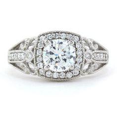 Vintage Style Halo Engagement Ring - Stellina