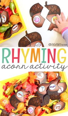 A fun hands-on fall literacy activity to help kindergarten and first grade kids work on their rhyming! Autumn Activities For Kids, Fall Preschool, Literacy Stations, Literacy Centers, Activity Centers, Writing Centers, Literacy Games, Kindergarten Centers, Kindergarten Reading