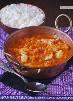 Receta de curry rojo de bacalao con calabaza. Con fotos del paso a paso, consejos y sugerencias de degustación. Recetas de pescados. Recetas de Se...