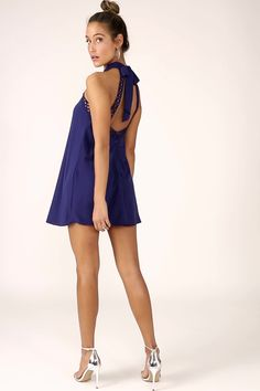 No matter where you wear it, the Any Sway, Shape, or Form Navy Blue Lace Halter Dress will turn heads! Tying halter neckline tops a sleeveless lace bodice. Formal Dresses For Men, Grad Dresses Short, Dresses For Teens, Casual Dresses, Cute Yellow Dresses, Cute White Dress, Navy Blue Dresses, Yellow Lace, White Lace