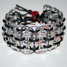Black Pop Can Tab Cuff Bracelet with Red Glitter by eclecticKel Can Tab Bracelet, Beaded Bracelets, Pop Can Tabs, Diy Corset, Can Tab Crafts, Soda Tabs, Pop Cans, Red Glitter, Bracelet Tutorial
