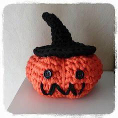 Calabaza Halloween y Sombrero de trapillo ~ Patrón Gratis en Español