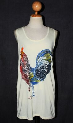 Chicken Cock Yellow Stripes Animal T-Shirt Singlet Sleeveless Tank Top Women Indie Art Rock Size S